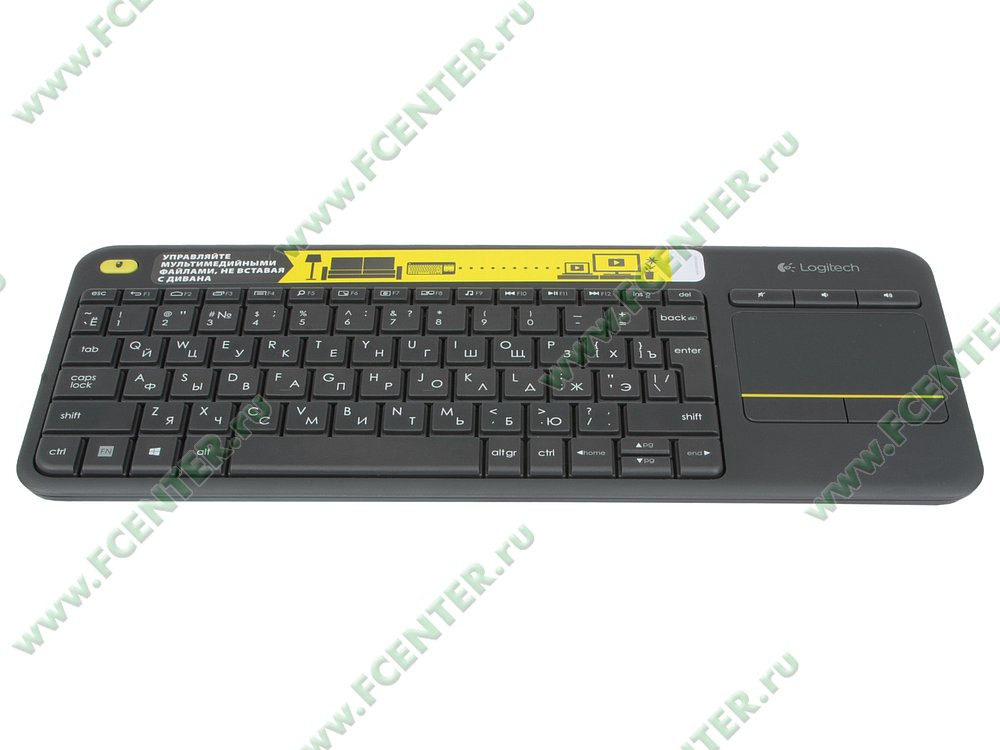 "Клавиатура Logitech ""k400 Plus Wireless Touch Keyboard"" (USB). Вид спереди."