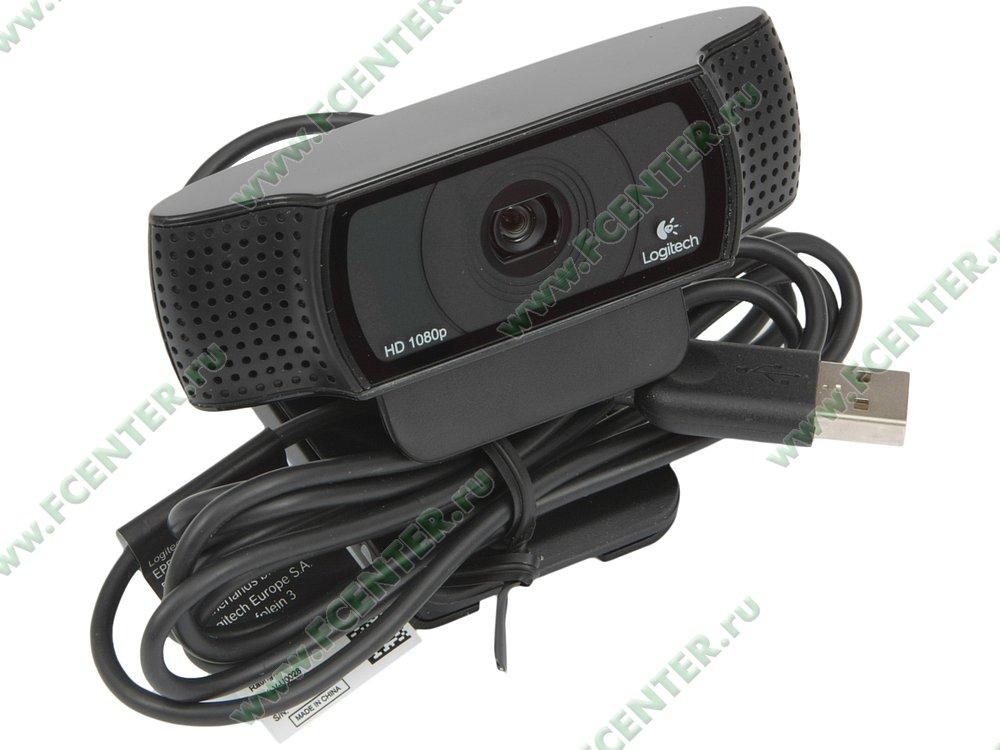 "Интернет-камера Logitech ""c920 HD Pro Webcam"" (USB2.0). Вид спереди."