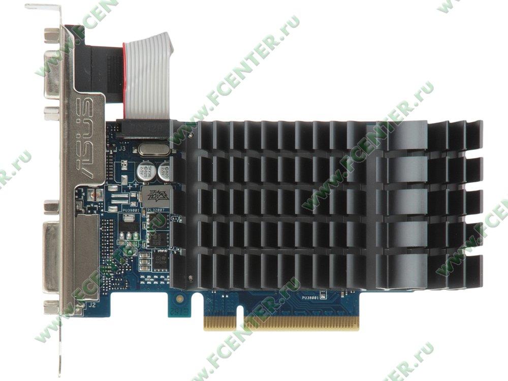 """Видеокарта PCI-E 1ГБ ASUS """"GeForce GT 710"""" 710-1-SL. Вид сверху."""
