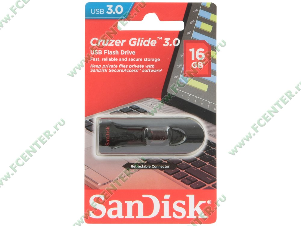 "Накопитель USB flash Флеш-драйв 16ГБ SanDisk ""Cruzer Glide 3.0"" (USB3.0). Коробка."