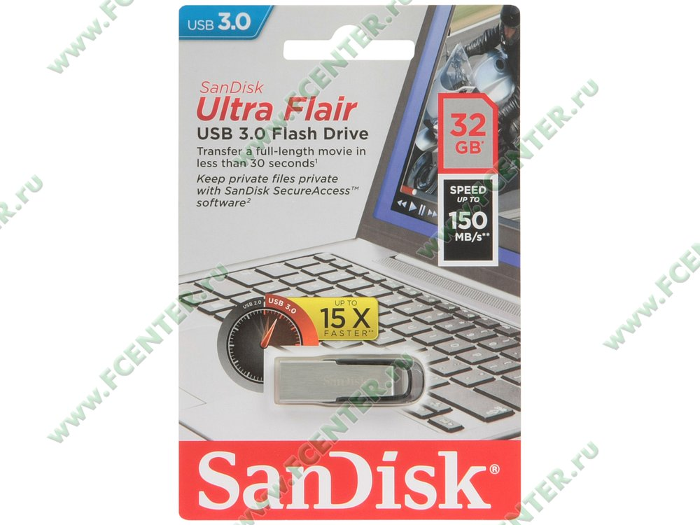 """Накопитель USB flash Накопитель USB flash 32ГБ SanDisk """"Ultra Flair"""" SDCZ73-032G-G46, серебр.-черный . Коробка."""