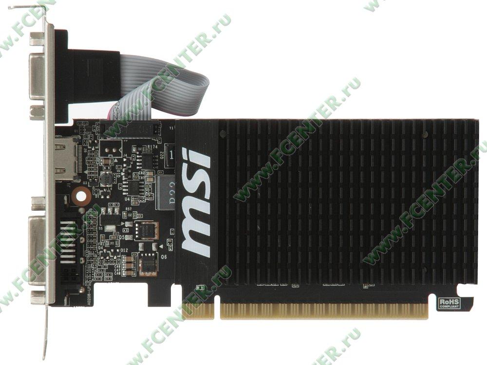 """Видеокарта PCI-E 1ГБ MSI """"GeForce GT 710 1GD3H LP"""". Вид сверху."""