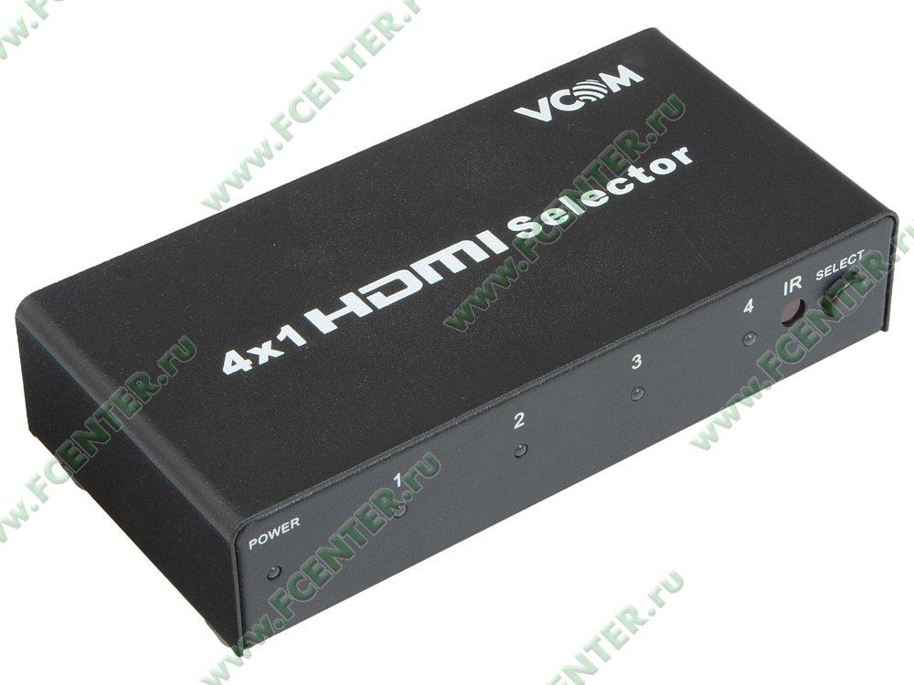 """Переключатель HDMI VCOM """"DD434"""", 4 порта. Вид спереди."""