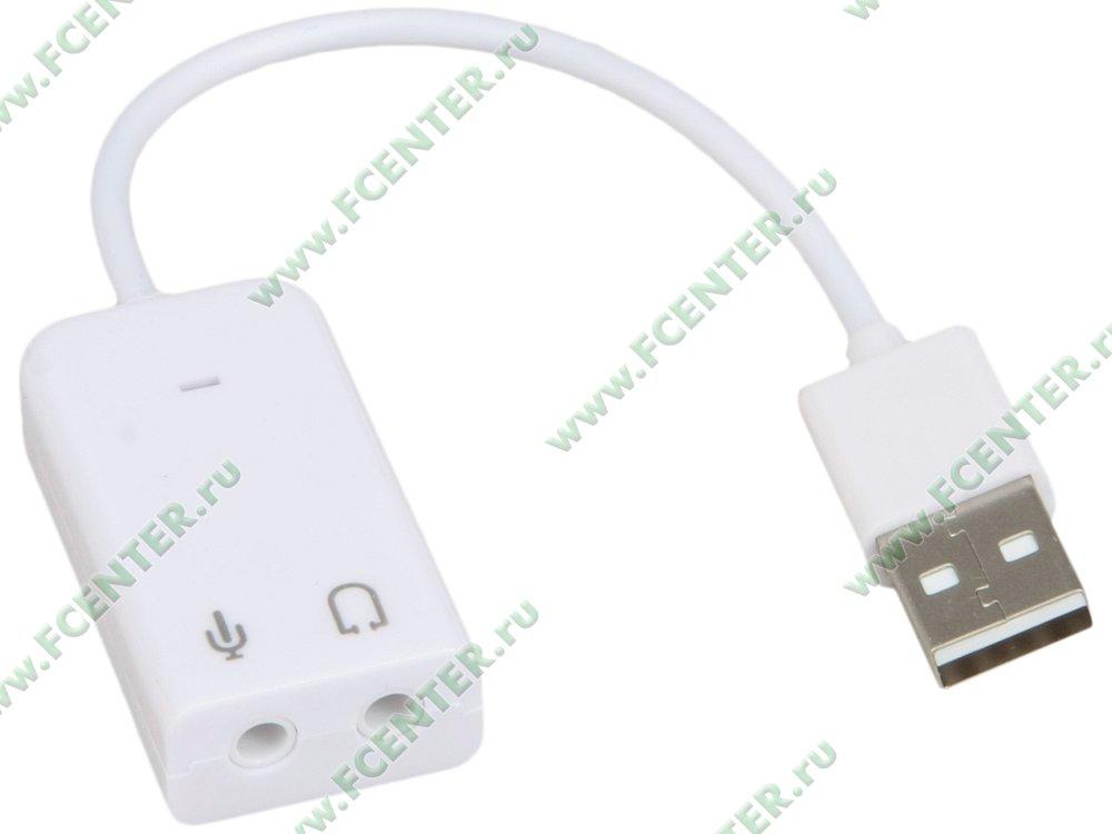 """Аудиокарта ORIENT """"AU-01SW"""" (USB). Вид спереди."""