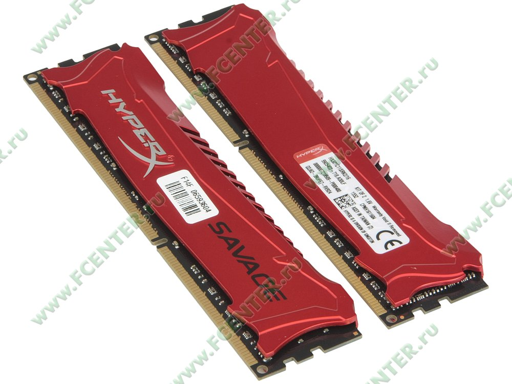 """Модуль оперативной памяти 2x8ГБ DDR3 Kingston """"HyperX Savage"""" (PC17000, CL11). Вид спереди."""