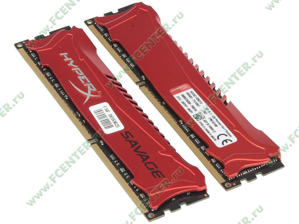 """Модуль оперативной памяти 2x8ГБ DDR3 Kingston """"HyperX Savage"""" (PC19200, CL11). Вид спереди."""