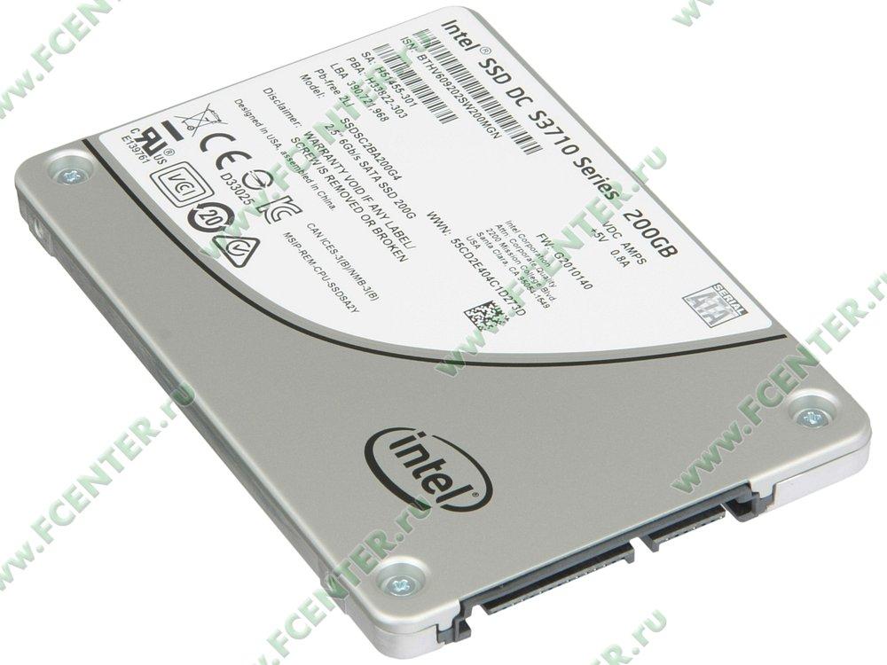"""SSD диск 200ГБ 2.5"""" Intel """"DC S3710"""" SSDSC2BA200G401 (SATA III). Вид спереди."""