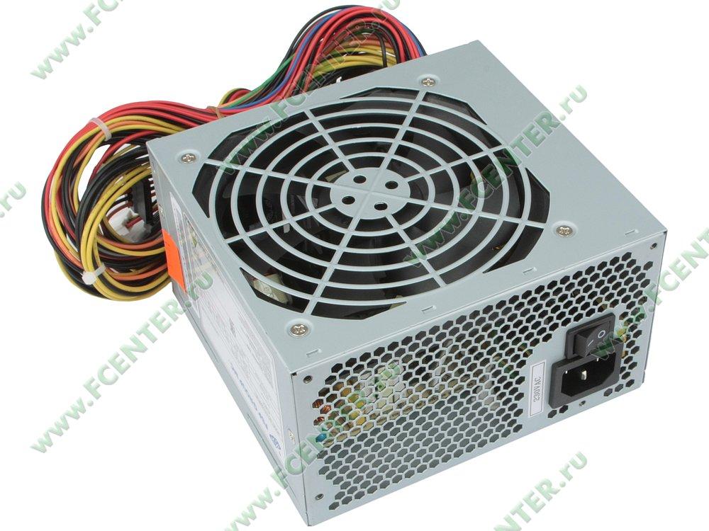 "Блок питания 500Вт FSP ""ATX-500PNR-I"" ATX12V V2.2. Вид спереди."
