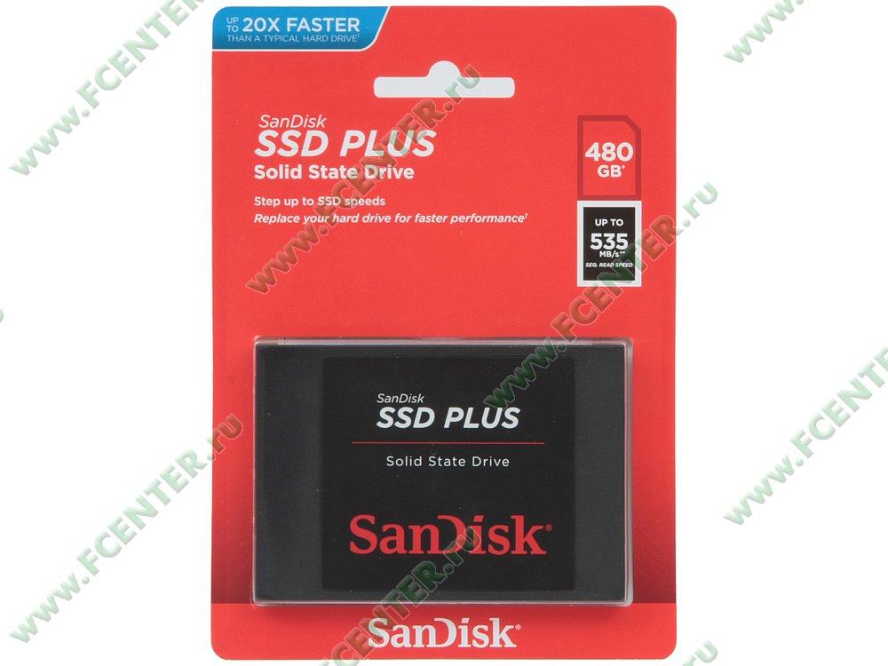 "SSD диск 480ГБ 2.5"" SanDisk ""SSD Plus"" SDSSDA-480G-G26 (SATA III). Коробка."