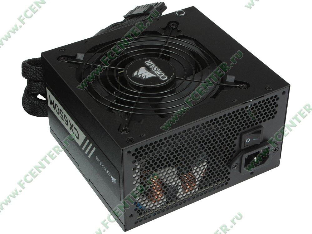 "Блок питания 650Вт Corsair ""CX650M"" CP-9020103-EU ATX12V V2.4. Вид спереди."