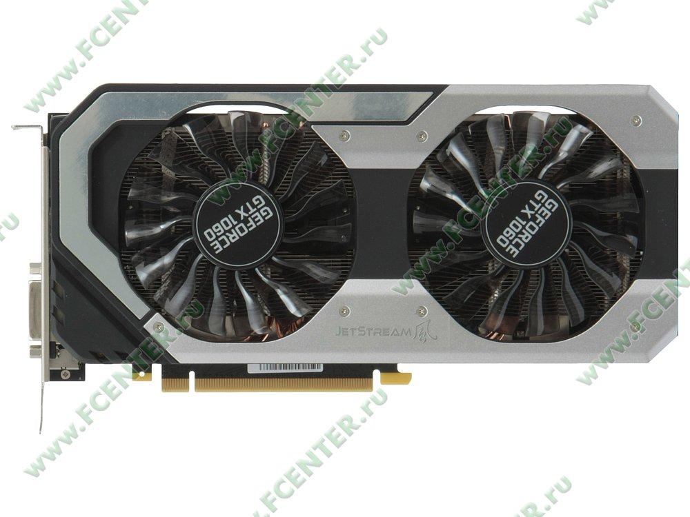 "Видеокарта PCI-E 6ГБ Palit ""GeForce GTX 1060 JetStream"". Вид сверху."
