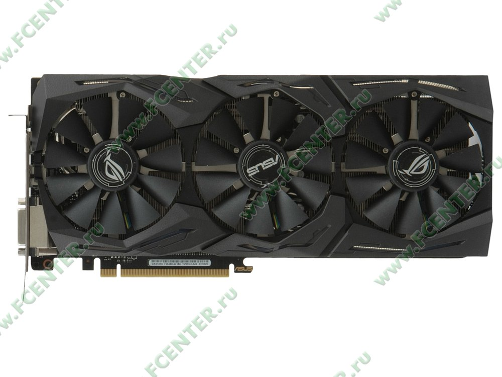 "Видеокарта PCI-E 8ГБ ASUS ""GeForce GTX 1070"" STRIX-GTX1070-8G-GAMING. Вид сверху."