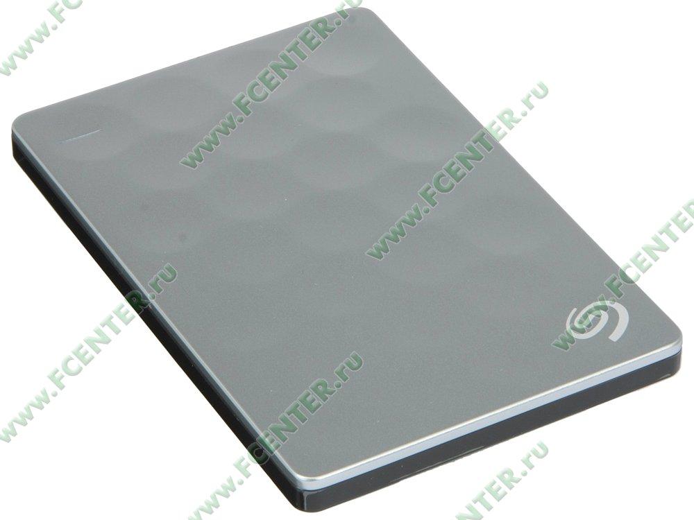 "Внешний жесткий диск 2ТБ Seagate ""Backup Plus Ultra Slim Portable"" (USB3.0). Вид спереди."