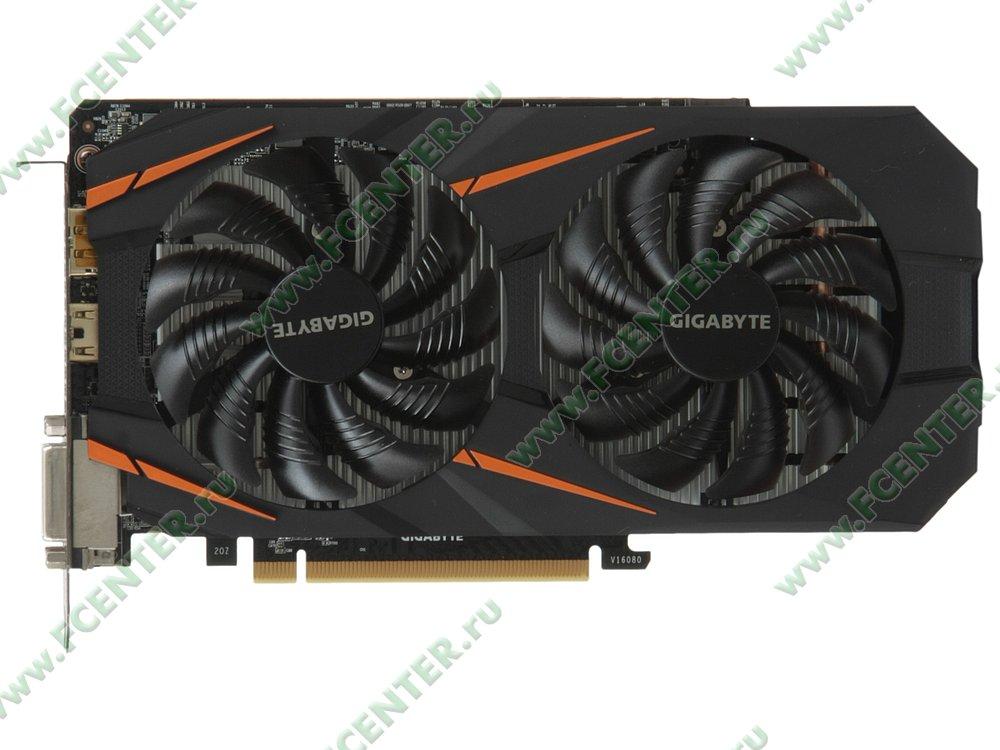 "Видеокарта GIGABYTE ""GeForce GTX 1060 6ГБ"" GV-N1060WF2OC-6GD. Вид сверху."