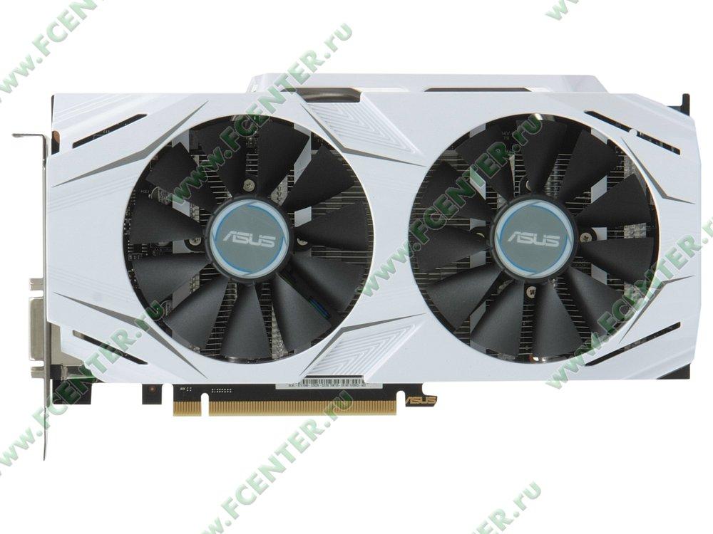 """Видеокарта ASUS """"GeForce GTX 1060 3ГБ"""" DUAL-GTX1060-O3G. Вид сверху."""