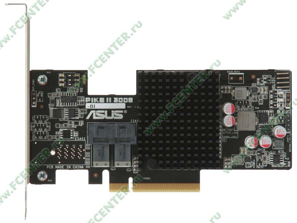 "RAID-контроллер SAS/SATA ASUS ""PIKE II 3008-8i"" (PCI-E x8). Вид сверху."
