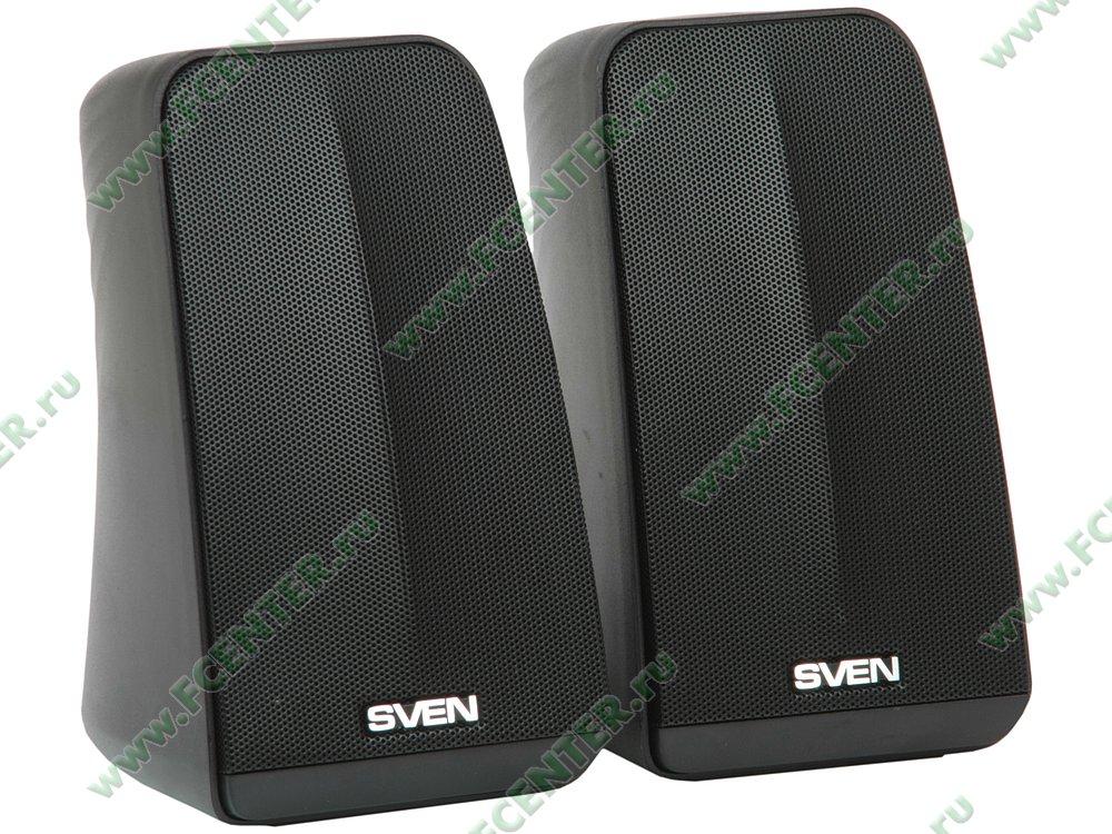 """Акустическая система Акустическая система стерео Sven """"380"""", 2x3Вт, питание от USB, черный . Вид спереди 1."""