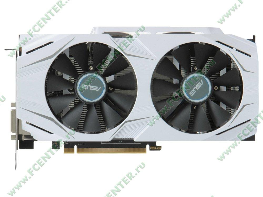 """Видеокарта ASUS """"GeForce GTX 1060 6ГБ"""" DUAL-GTX1060-6G. Вид сверху."""