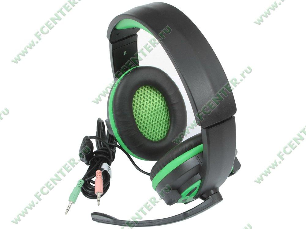 "Гарнитура Гарнитура Defender ""G-300 Warhead"" 64128, с регулятором громкости, черно-зеленый. Вид спереди 1."