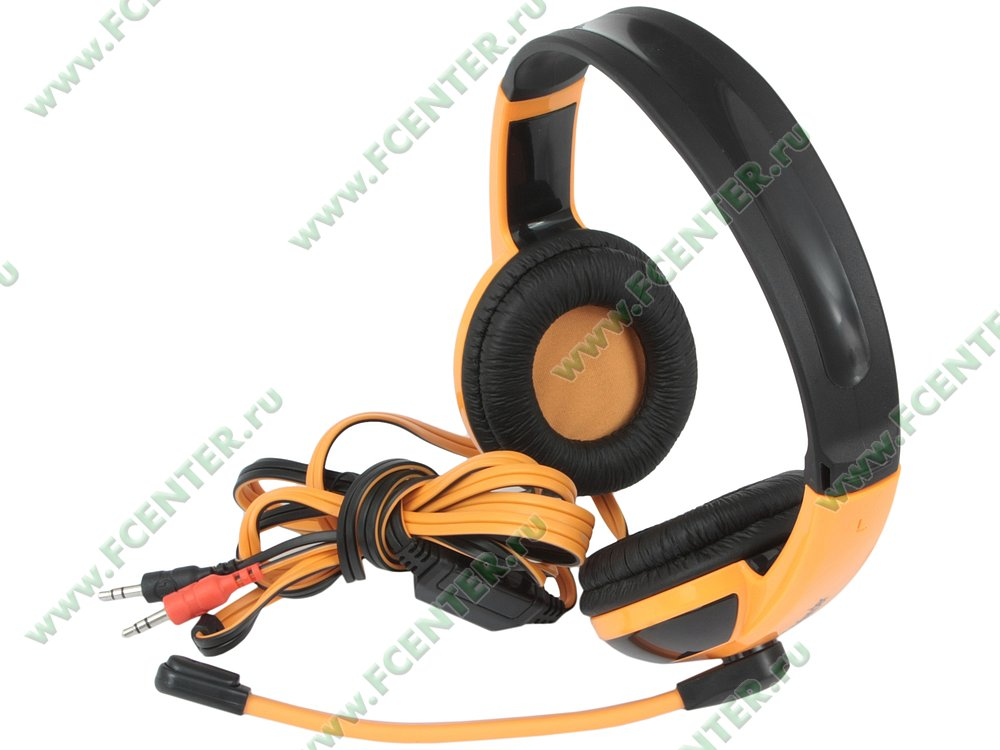 "Гарнитура Гарнитура Defender ""G-120 Warhead"" 64099, с регулятором громкости, черно-оранжевый . Вид спереди 1."