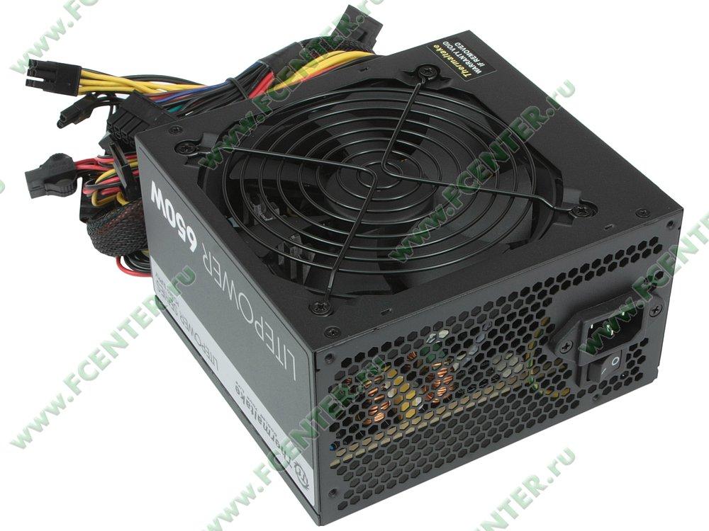 """Блок питания 650Вт Thermaltake """"Litepower 650W"""" ATX12V V2.3. Вид спереди."""