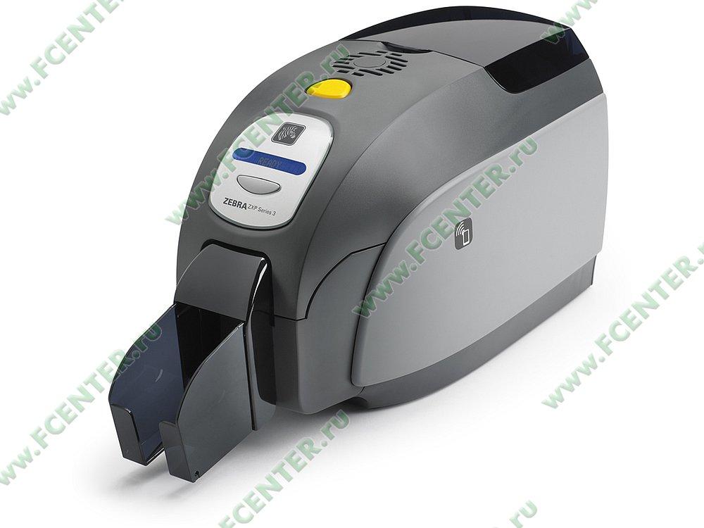 "Термосублимационный принтер Zebra ""ZXP3"" (USB). Вид спереди."