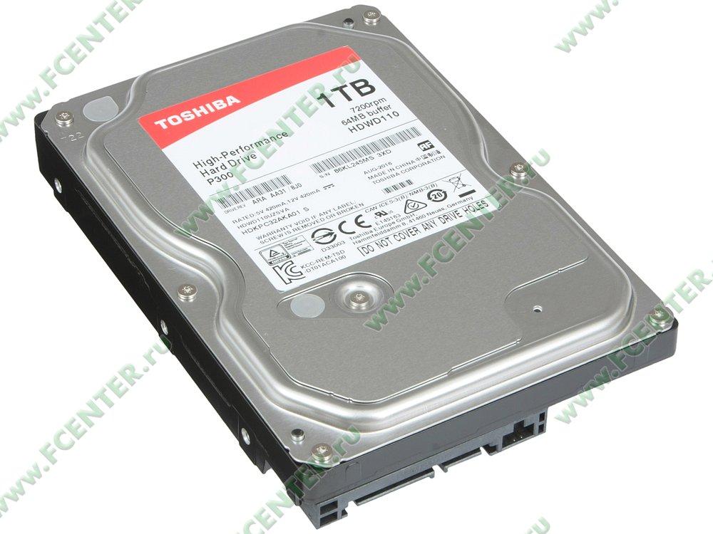 "Жесткий диск 1ТБ Toshiba ""P300"" (SATA III). Вид спереди."