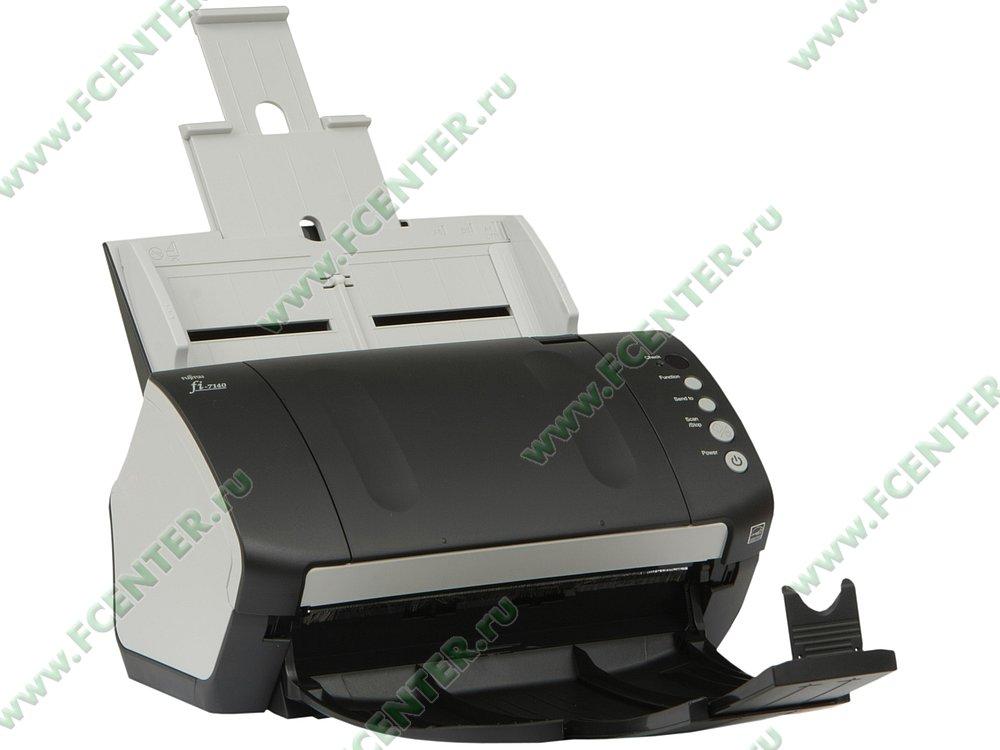 """Сканер Сканер Fujitsu """"fi-7140"""", A4, 600x600dpi, с автоподатч., бело-черный . Вид спереди."""