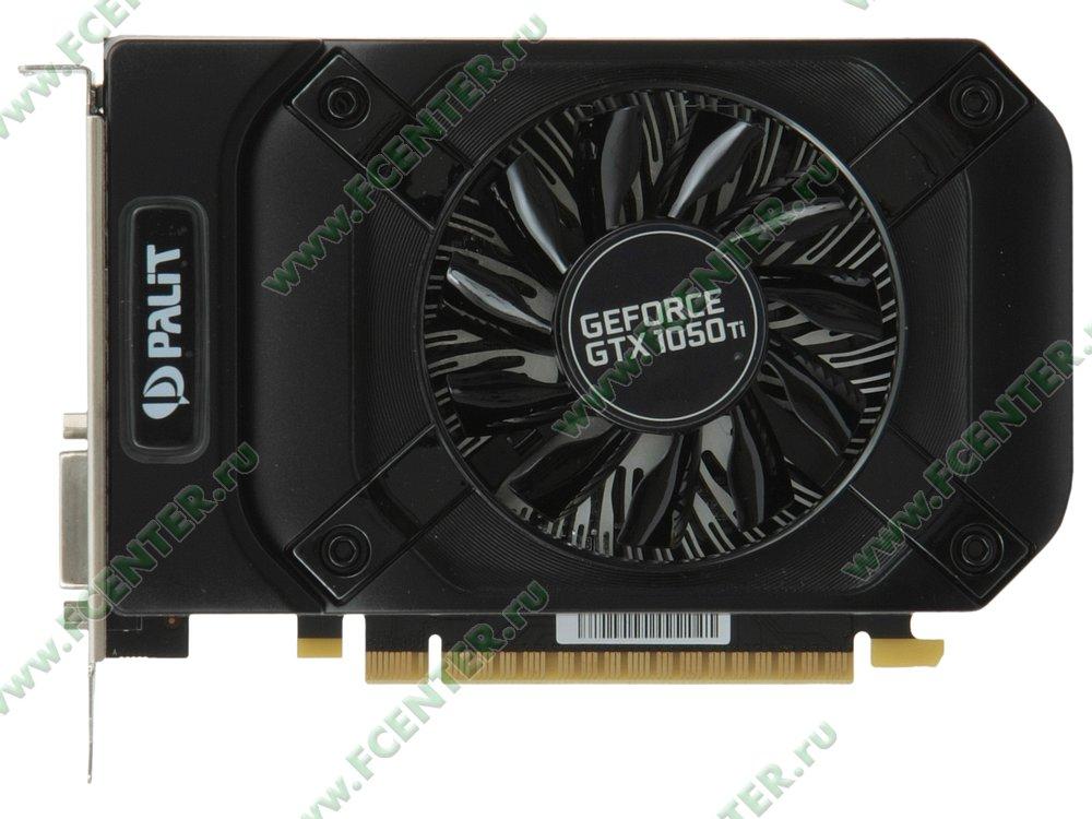 """Видеокарта Palit """"GeForce GTX 1050 Ti StormX 4ГБ"""". Вид сверху."""