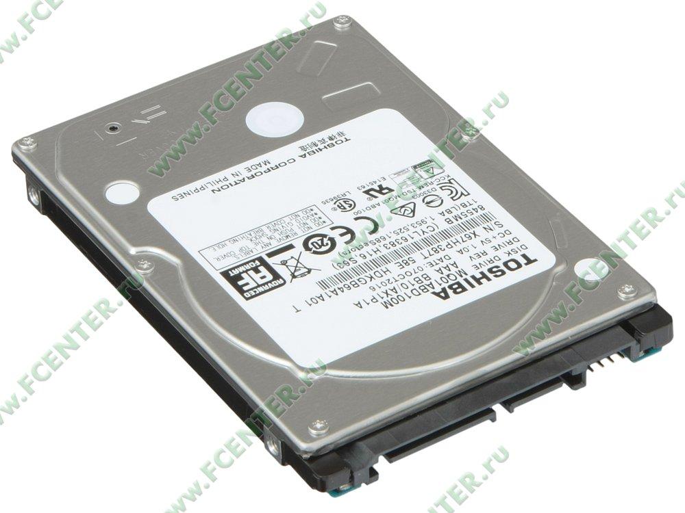 "Жесткий диск 1ТБ Toshiba ""MQ01ABD100M"" (SATA II). Вид спереди."