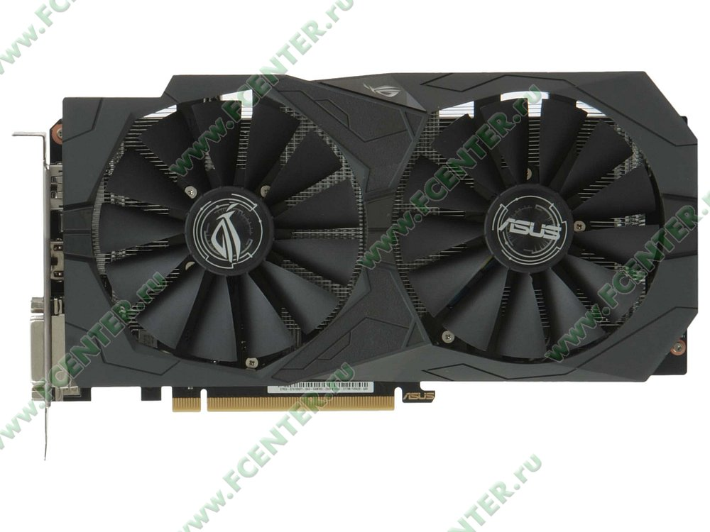 "Видеокарта ASUS ""GeForce GTX 1050 Ti 4ГБ"" STRIX-GTX1050TI-O4G-GAMING. Вид сверху."