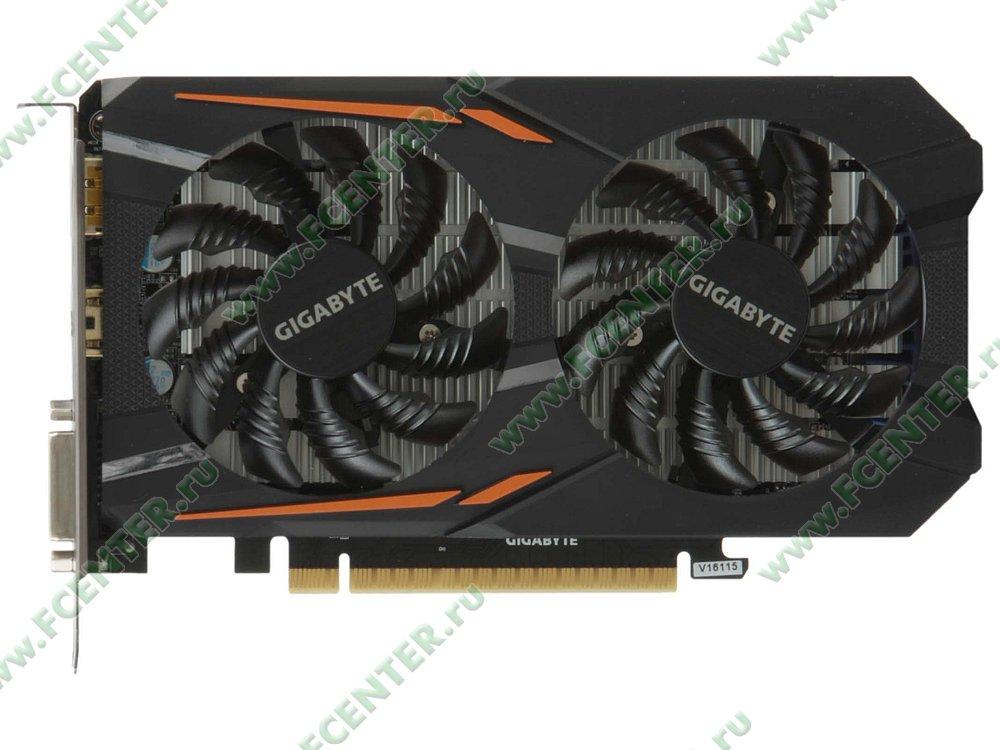 "Видеокарта GIGABYTE ""GeForce GTX 1050 Ti OC 4G 4ГБ"". Вид сверху."