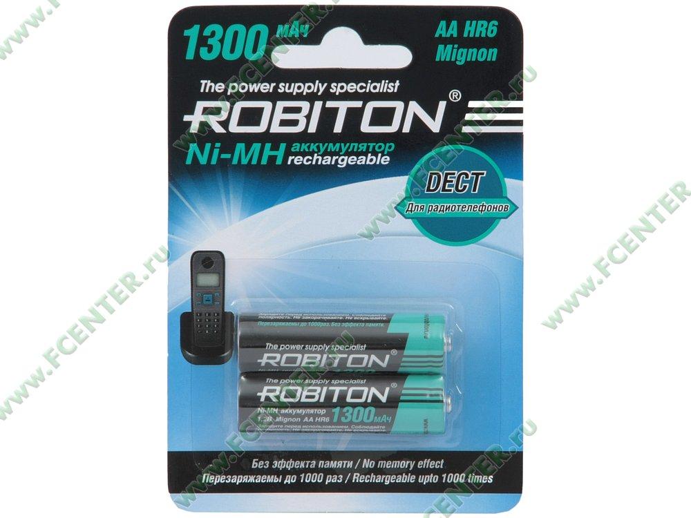 """Аккумулятор Robiton """"1300MHAA-2"""". Коробка."""