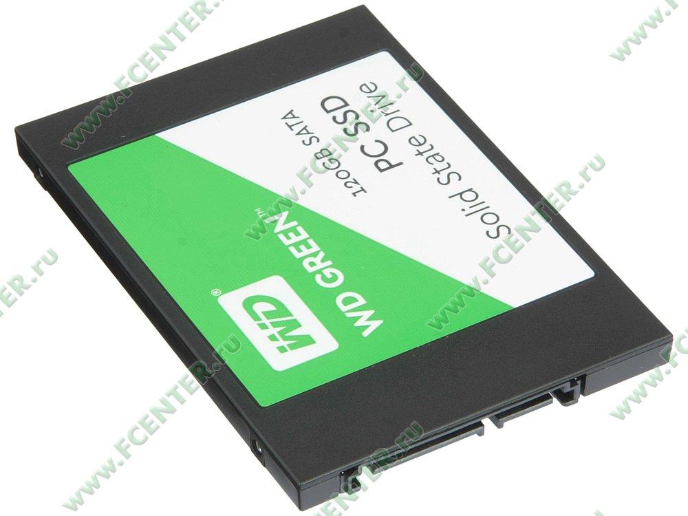 """SSD диск 120ГБ Western Digital """"Green PC SSD"""" (SATA III). Вид спереди."""