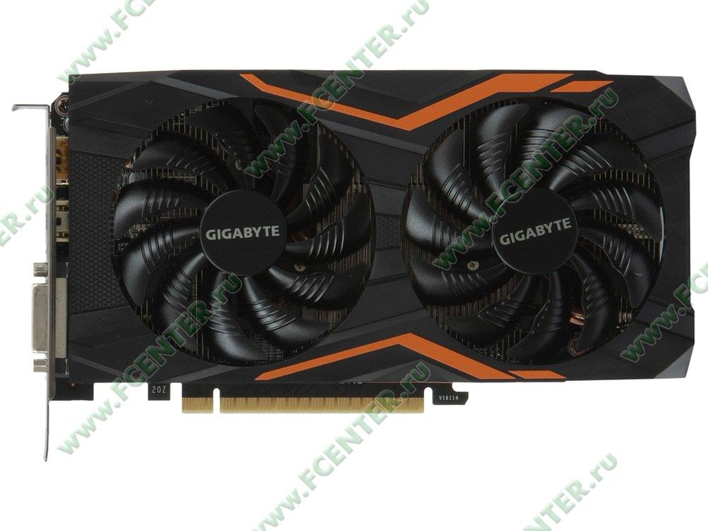 "Видеокарта GIGABYTE ""GeForce GTX 1050 Ti G1 Gaming 4G 4ГБ"". Вид сверху."
