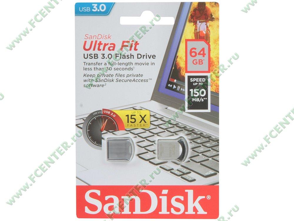 """Флеш-драйв 64ГБ SanDisk """"Ultra Fit"""" (USB3.0)"""