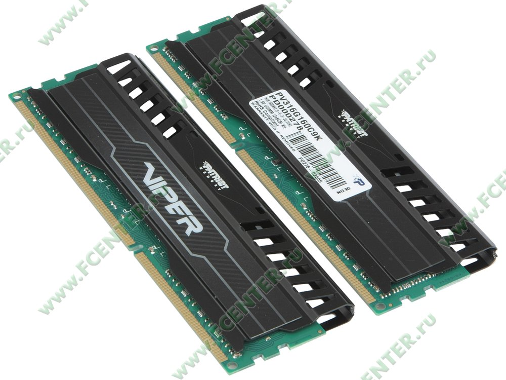 """Модуль оперативной памяти 2x8ГБ DDR3 Patriot """"Viper PV316G160C9K"""" (PC12800, CL9). Вид спереди."""