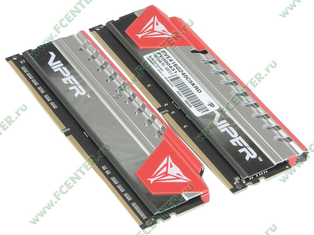 """Модуль оперативной памяти 2x8ГБ DDR4 Patriot """"Viper PVE416G240C5KRD"""" (PC19200, CL15). Вид спереди."""