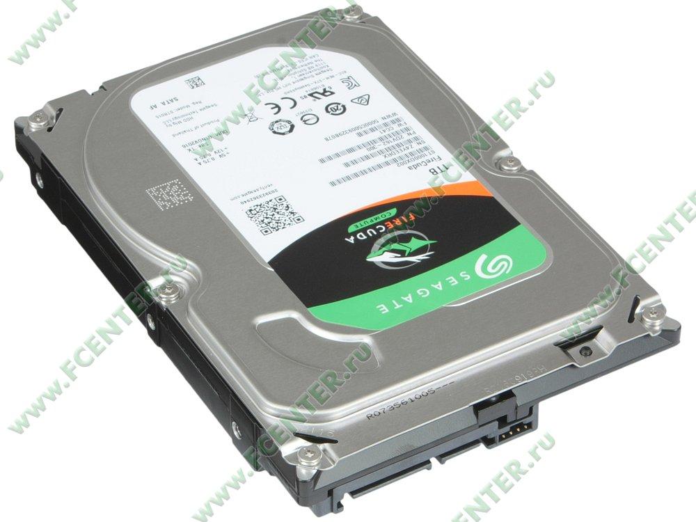 "Гибридный диск 1ТБ Seagate ""ST1000DX002"" (SATA III). Вид спереди."