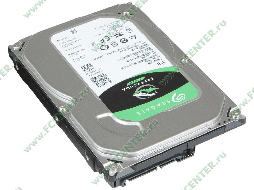 """Жесткий диск 1ТБ Seagate """"ST1000DM010"""" (SATA III). Вид спереди."""