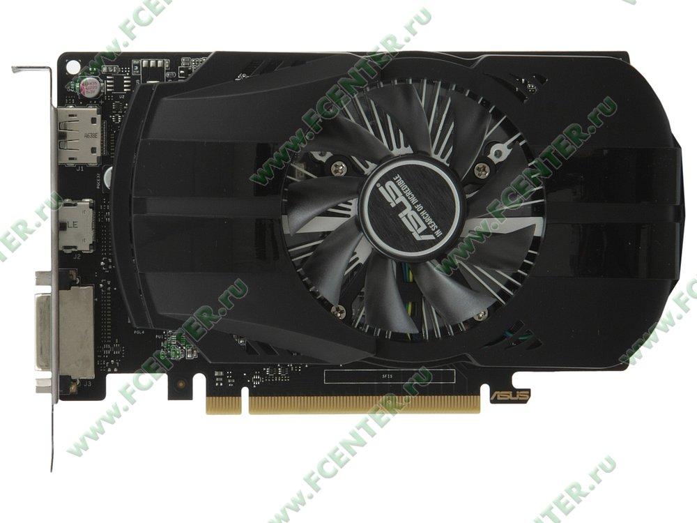 """Видеокарта ASUS """"GeForce GTX 1050 Ti 4ГБ"""" PH-GTX1050TI-4G. Вид сверху."""