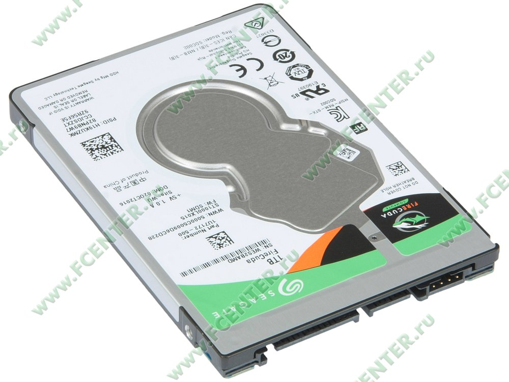 "Гибридный диск 1ТБ Seagate ""ST1000LX015"" (SATA III). Вид спереди."