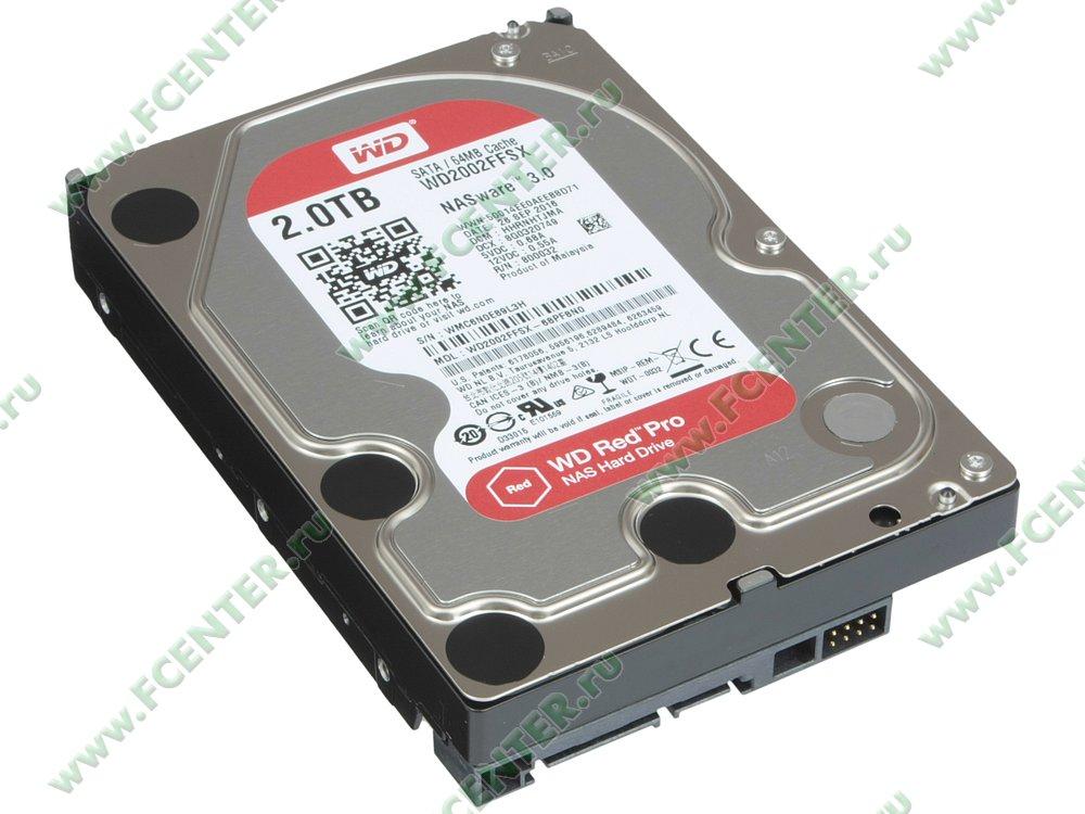 "Жесткий диск 2ТБ Western Digital ""Red Pro WD2002FFSX"" (SATA III). Вид спереди."