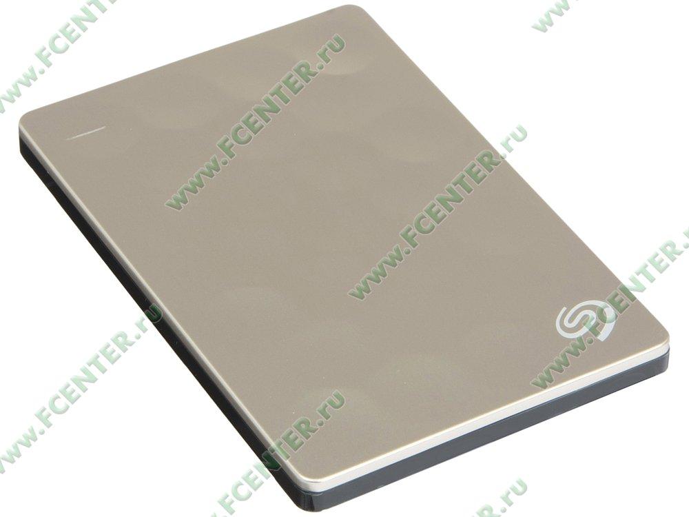 "Внешний жесткий диск 1ТБ Seagate ""Backup Plus Ultra Slim Portable"" (USB3.0). Вид спереди."