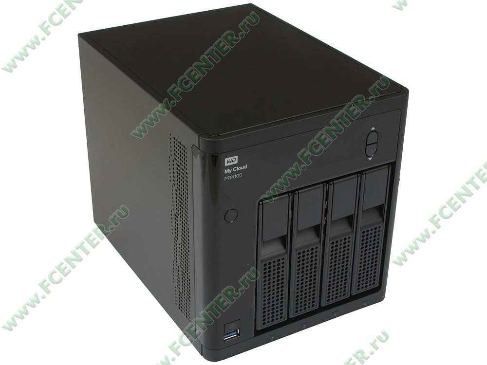 """Сетевое хранилище данных (NAS) Western Digital """"My Cloud Pro PR4100"""" (LAN). Вид спереди 1."""