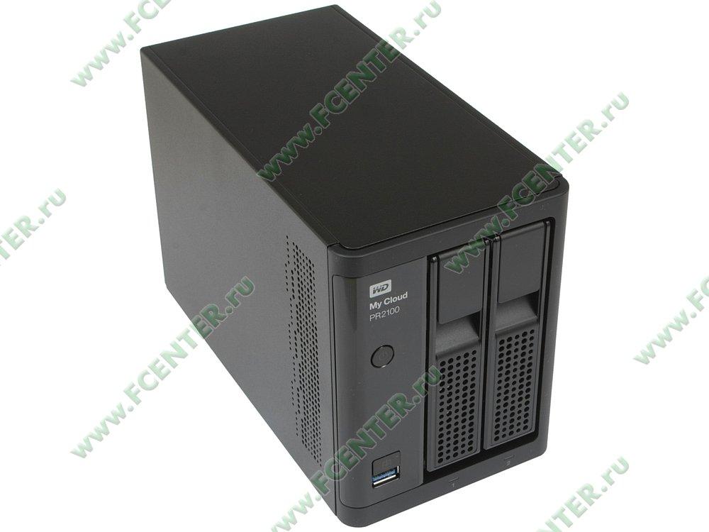 """Сетевое хранилище данных (NAS) Western Digital """"My Cloud Pro PR2100"""" (LAN). Вид спереди 1."""