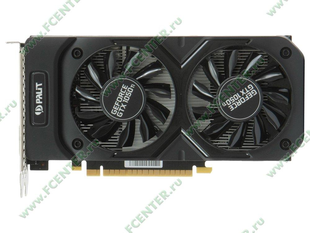 """Видеокарта Palit """"GeForce GTX 1050 Ti Dual 4ГБ"""". Вид сверху."""