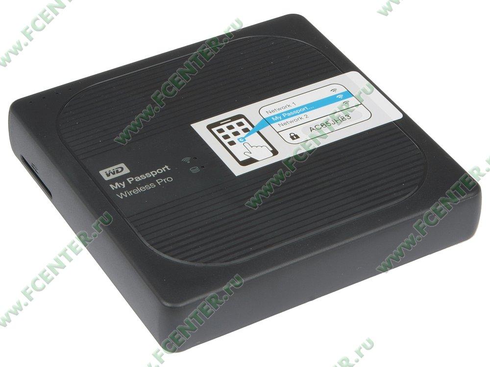 """Внешний жесткий диск 2ТБ Western Digital """"My Passport Wireless Pro"""" (USB3.0, WiFi). Вид спереди."""
