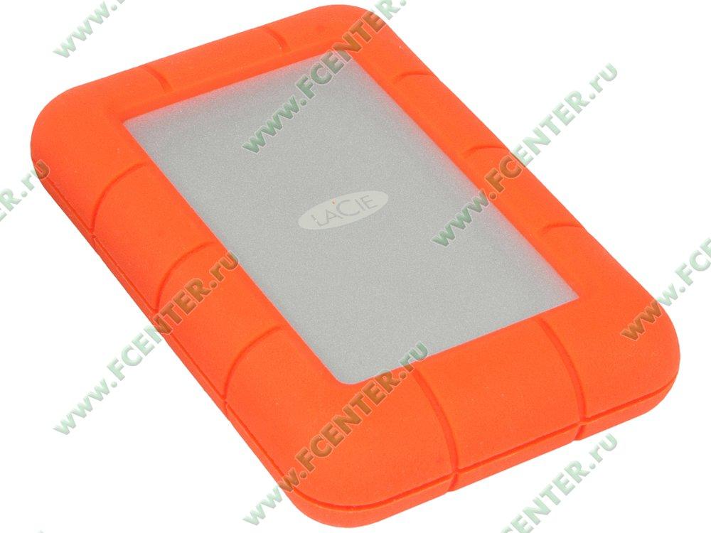 """Внешний жесткий диск Внешний жесткий диск 4ТБ 2.5"""" LaCie """"Rugged USB-C"""", оранжевый . Вид спереди."""