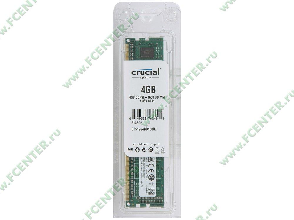 """Модуль оперативной памяти 4ГБ DDR3 Crucial """"CT51264BD160BJ"""" (PC12800, CL11). Коробка 1."""